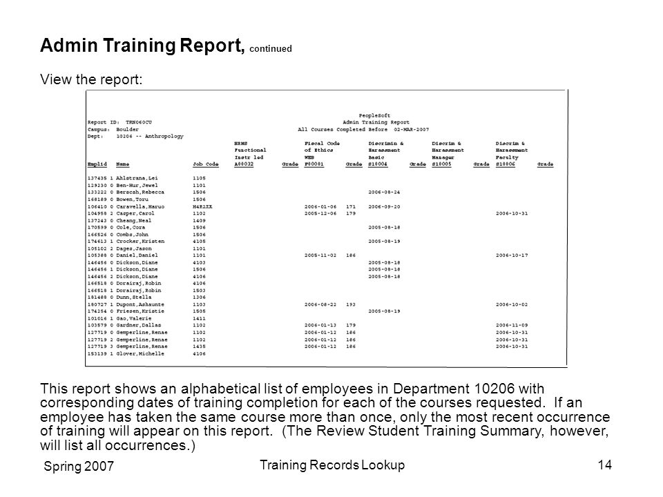 Spring 2007 Training Records Lookup14 Admin Training Report, continued View the report: This report shows an alphabetical list of employees in Department 10206 with corresponding dates of training completion for each of the courses requested.
