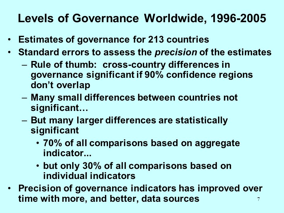 7 Levels of Governance Worldwide, 1996-2005 Estimates of governance for 213 countries Standard errors to assess the precision of the estimates –Rule o