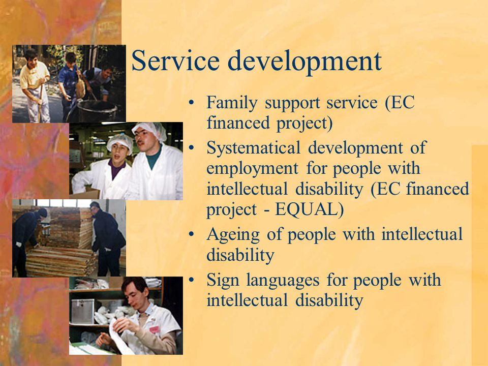 Service development Family support service (EC financed project) Systematical development of employment for people with intellectual disability (EC financed project - EQUAL) Ageing of people with intellectual disability Sign languages for people with intellectual disability