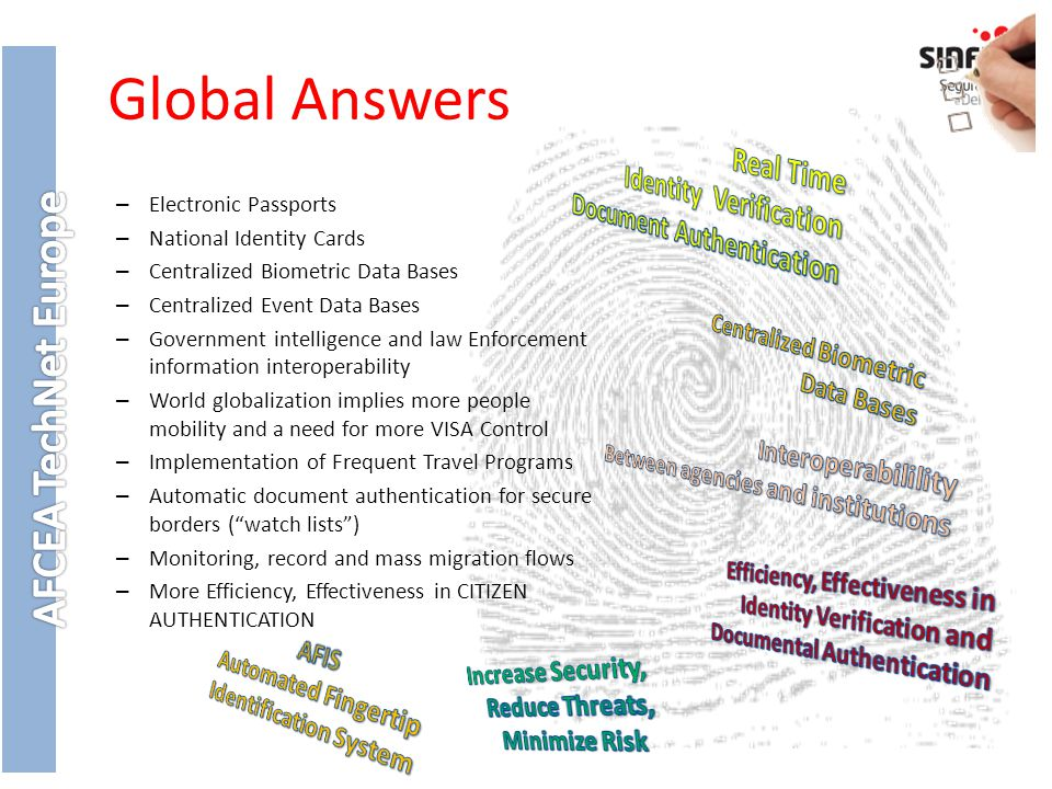 Global Answers – Electronic Passports – National Identity Cards – Centralized Biometric Data Bases – Centralized Event Data Bases – Government intelligence and law Enforcement information interoperability – World globalization implies more people mobility and a need for more VISA Control – Implementation of Frequent Travel Programs – Automatic document authentication for secure borders ( watch lists ) – Monitoring, record and mass migration flows – More Efficiency, Effectiveness in CITIZEN AUTHENTICATION
