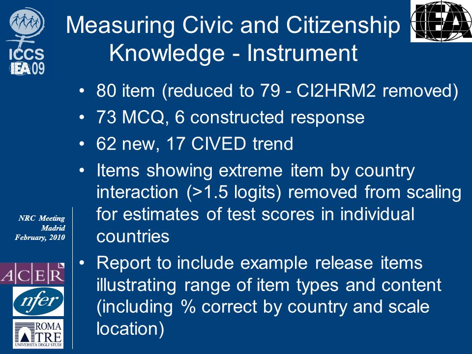 NRC Meeting Madrid February, 2010 Measuring Civic and Citizenship Knowledge - Instrument 80 item (reduced to 79 - CI2HRM2 removed) 73 MCQ, 6 constructed response 62 new, 17 CIVED trend Items showing extreme item by country interaction (>1.5 logits) removed from scaling for estimates of test scores in individual countries Report to include example release items illustrating range of item types and content (including % correct by country and scale location)