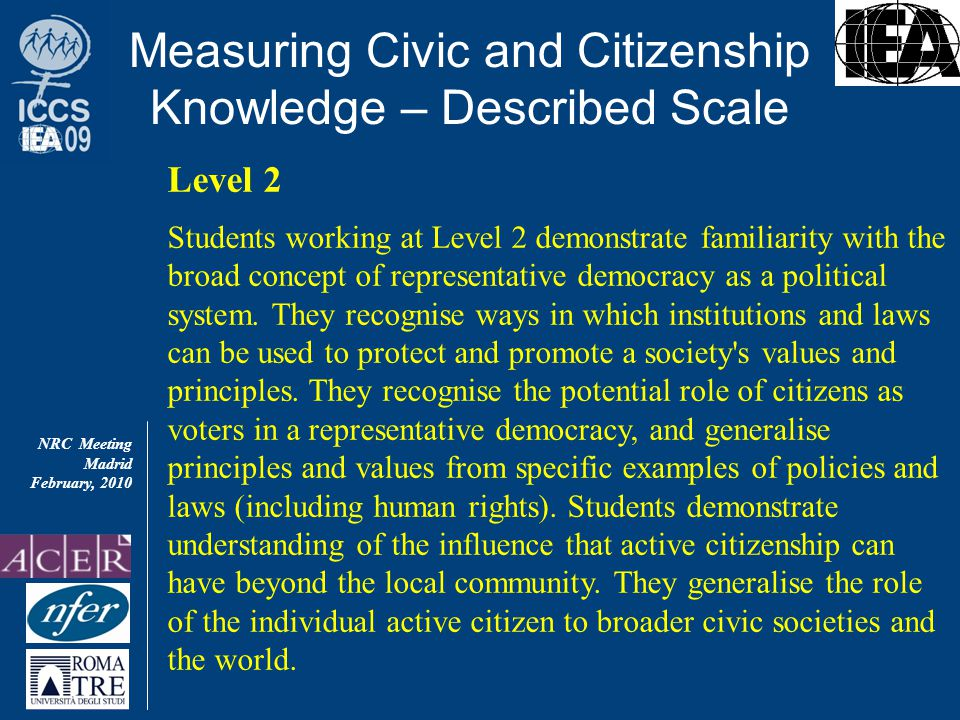 NRC Meeting Madrid February, 2010 Measuring Civic and Citizenship Knowledge – Described Scale Level 2 Students working at Level 2 demonstrate familiarity with the broad concept of representative democracy as a political system.