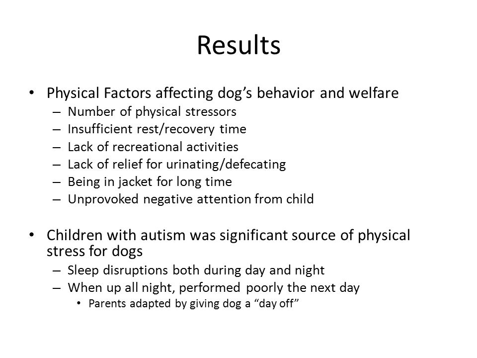 Results Physical Factors affecting dog's behavior and welfare – Number of physical stressors – Insufficient rest/recovery time – Lack of recreational activities – Lack of relief for urinating/defecating – Being in jacket for long time – Unprovoked negative attention from child Children with autism was significant source of physical stress for dogs – Sleep disruptions both during day and night – When up all night, performed poorly the next day Parents adapted by giving dog a day off