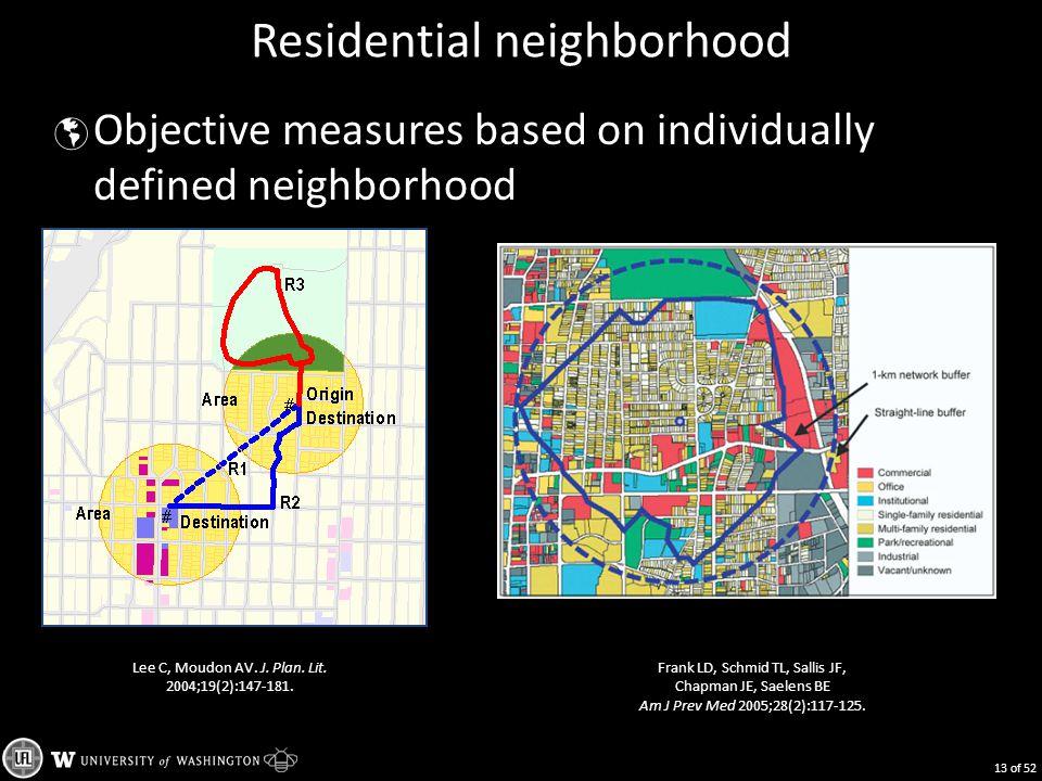 Residential neighborhood  Objective measures based on individually defined neighborhood 13 of 52 Lee C, Moudon AV. J. Plan. Lit. 2004;19(2):147-181.