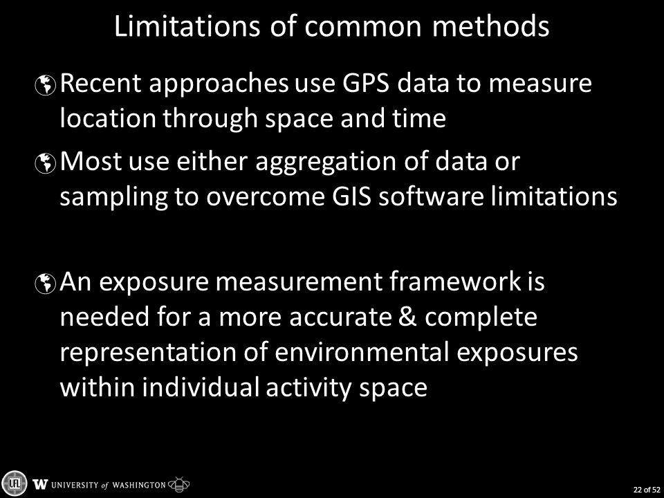 Limitations of common methods  Recent approaches use GPS data to measure location through space and time  Most use either aggregation of data or sampling to overcome GIS software limitations  An exposure measurement framework is needed for a more accurate & complete representation of environmental exposures within individual activity space 22 of 52