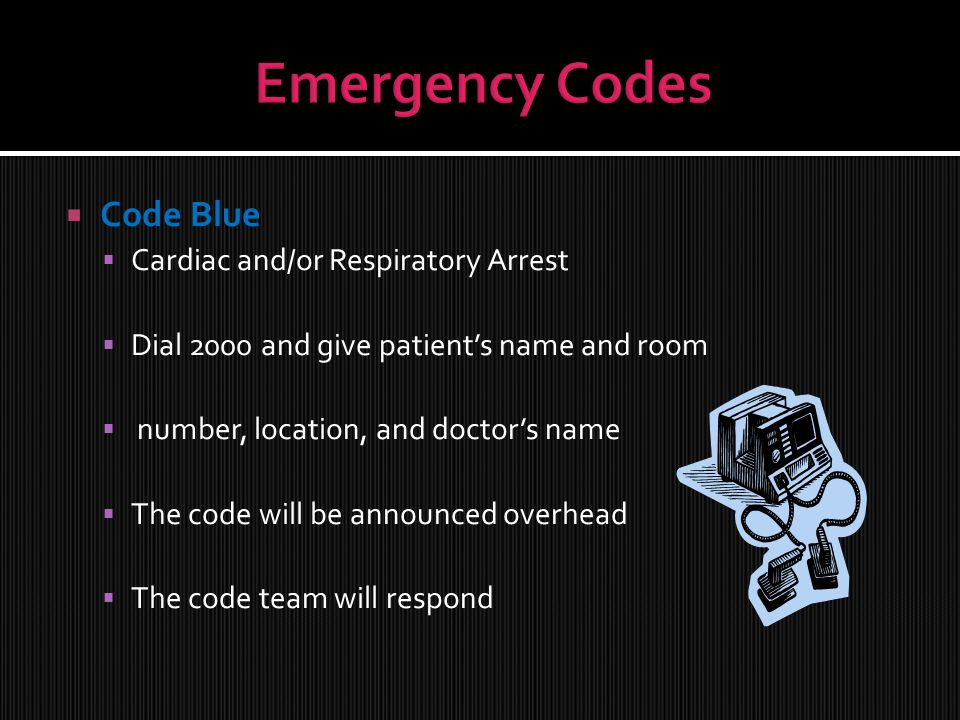  Code Blue  Cardiac and/or Respiratory Arrest  Dial 2000 and give patient's name and room  number, location, and doctor's name  The code will be announced overhead  The code team will respond