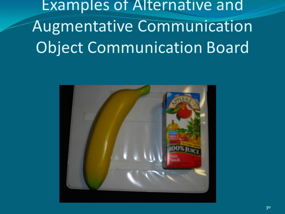 Examples of Alternative and Augmentative Communication Object Communication Board 30