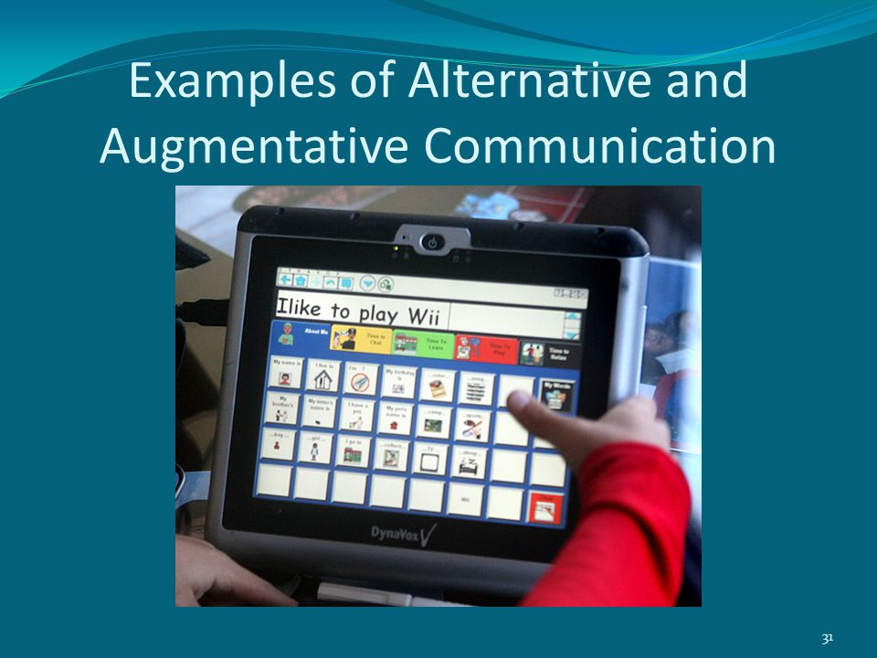 Examples of Alternative and Augmentative Communication 31