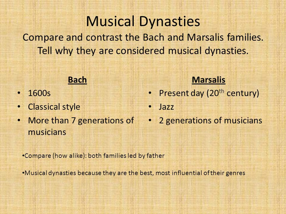 Musical Dynasties Compare and contrast the Bach and Marsalis families. Tell why they are considered musical dynasties. Bach 1600s Classical style More