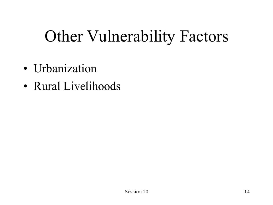 Session 1014 Other Vulnerability Factors Urbanization Rural Livelihoods