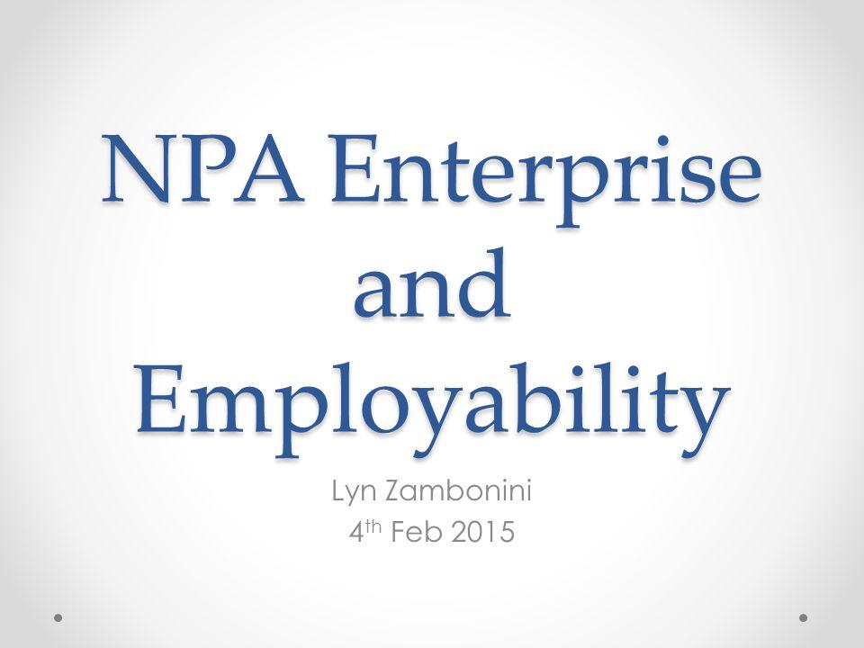 NPA Enterprise and Employability Lyn Zambonini 4 th Feb 2015