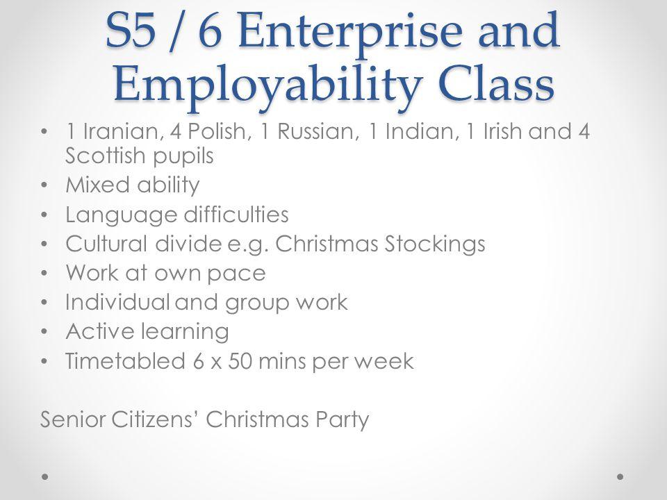 S5 / 6 Enterprise and Employability Class 1 Iranian, 4 Polish, 1 Russian, 1 Indian, 1 Irish and 4 Scottish pupils Mixed ability Language difficulties
