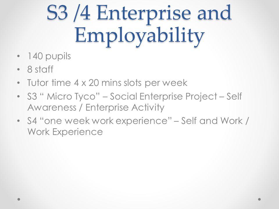 "S3 /4 Enterprise and Employability 140 pupils 8 staff Tutor time 4 x 20 mins slots per week S3 "" Micro Tyco"" – Social Enterprise Project – Self Awaren"