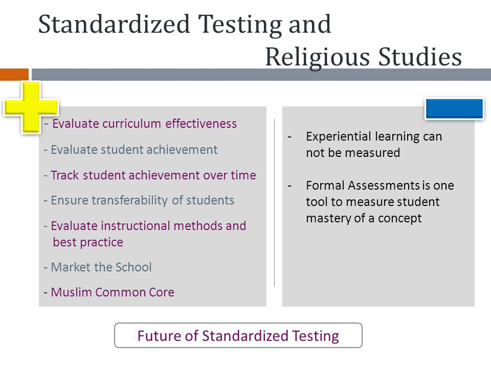 Standardized Testing and Religious Studies Future of Standardized Testing - Evaluate curriculum effectiveness - Evaluate student achievement - Track s
