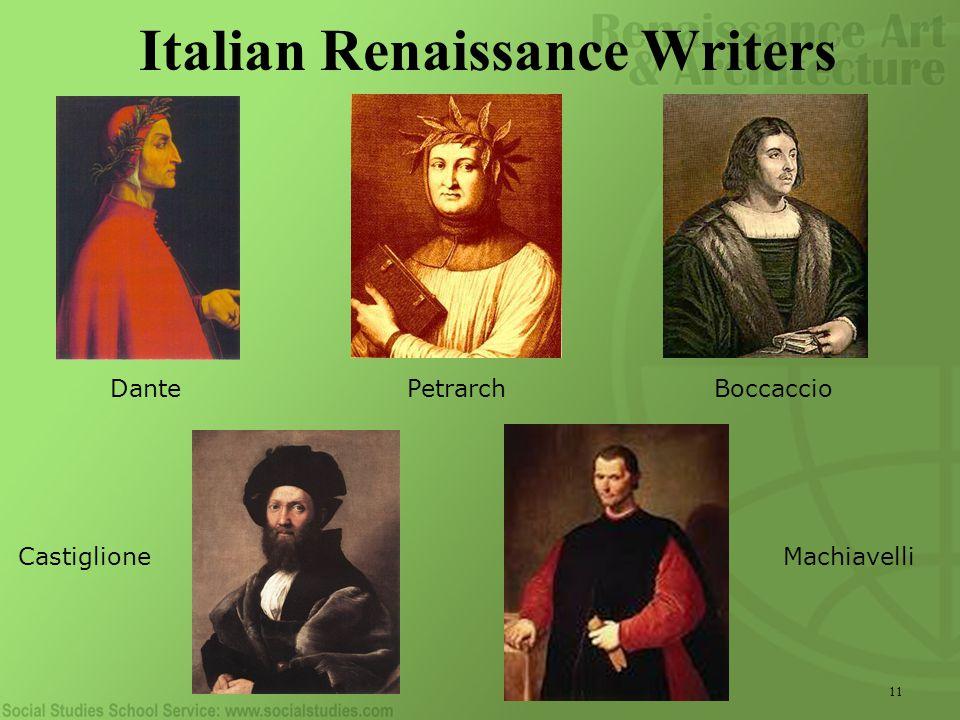 11 Italian Renaissance Writers Dante PetrarchBoccaccio Castiglione Machiavelli