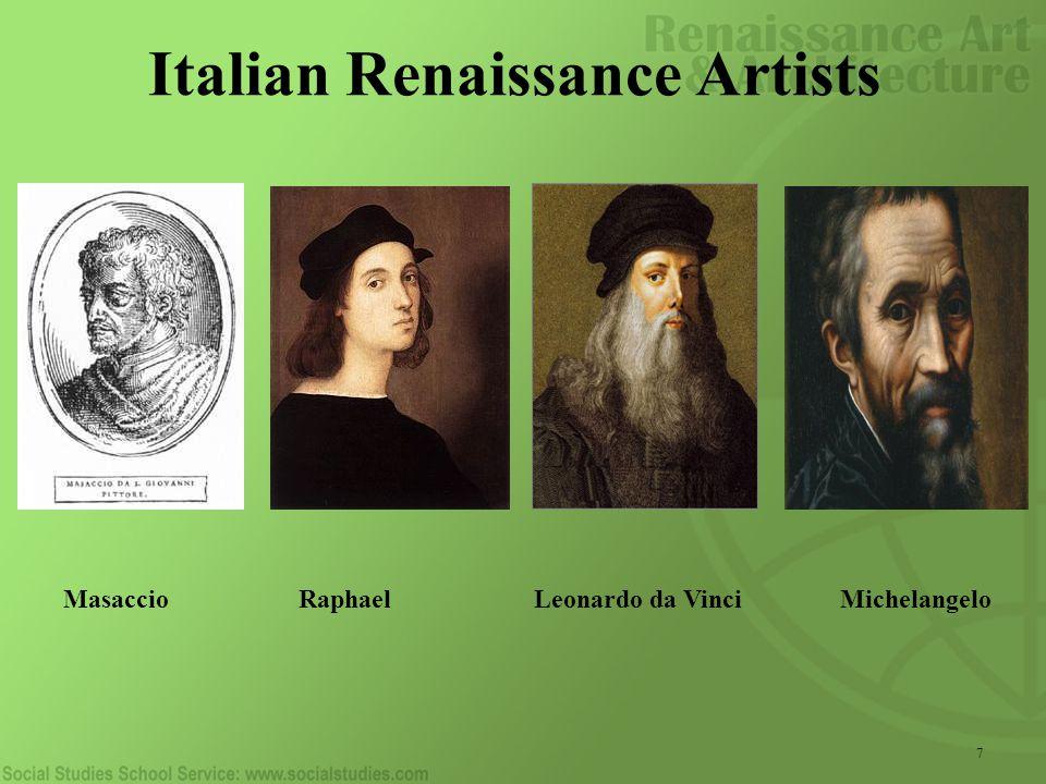 Italian Renaissance Artists 7 Masaccio Raphael Leonardo da Vinci Michelangelo