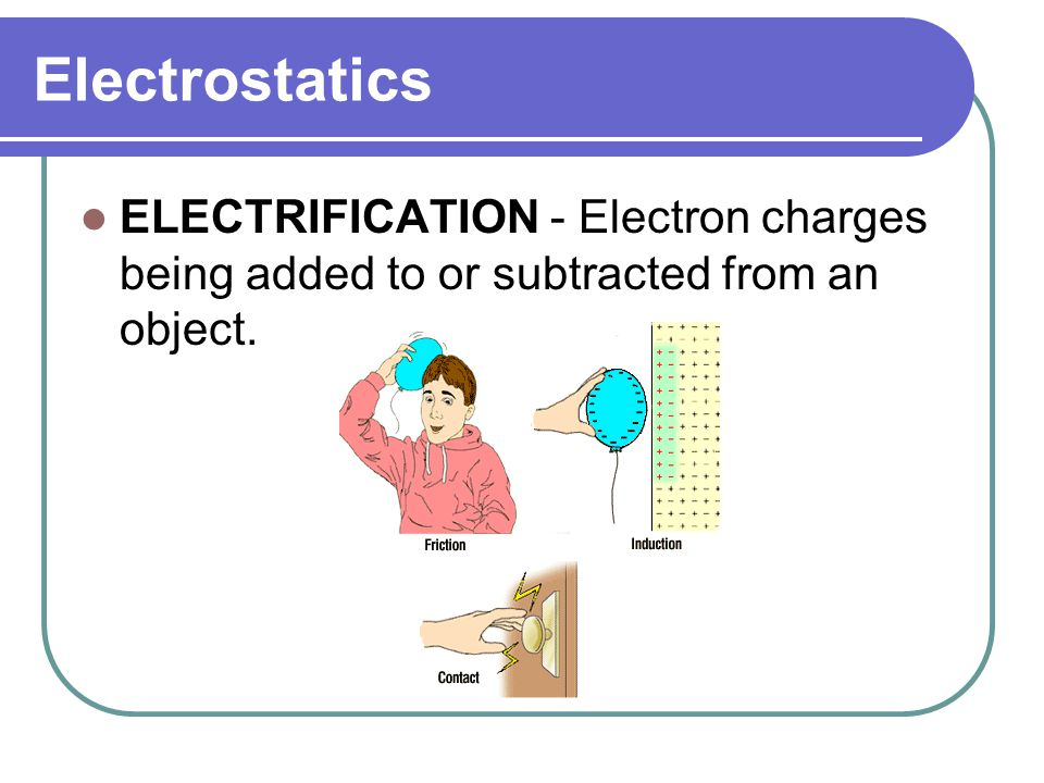 Electrostatics ELECTRIFICATION - Electron charges being added to or subtracted from an object.