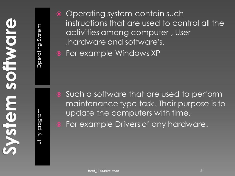 Operating System Utility program  Operating system contain such instructions that are used to control all the activities among computer, User,hardware and software s.