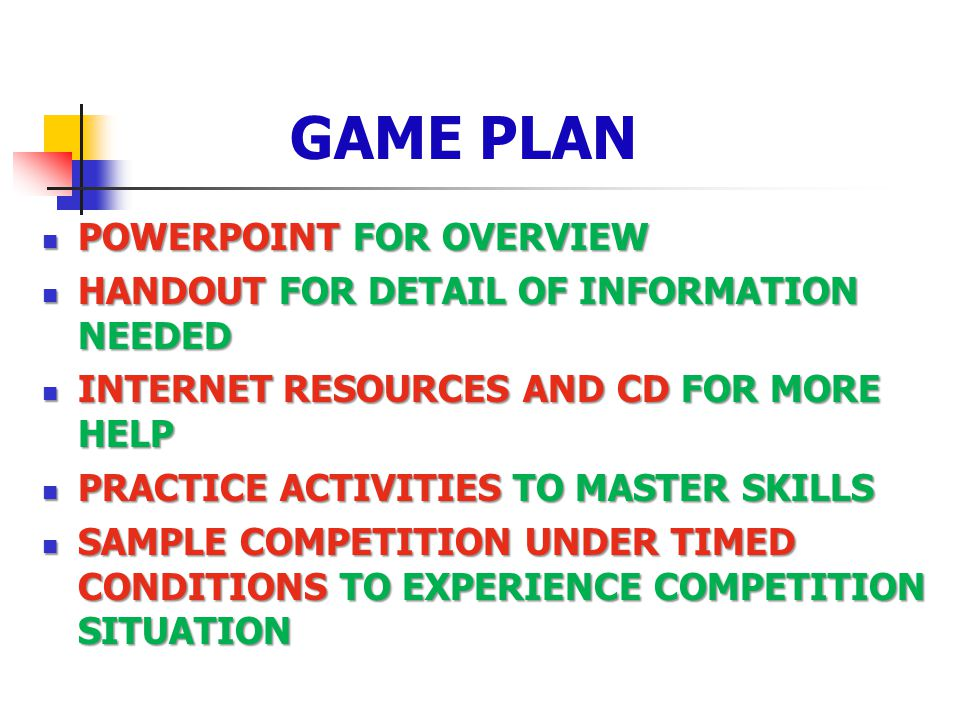 GAME PLAN POWERPOINT FOR OVERVIEW POWERPOINT FOR OVERVIEW HANDOUT FOR DETAIL OF INFORMATION NEEDED HANDOUT FOR DETAIL OF INFORMATION NEEDED INTERNET RESOURCES AND CD FOR MORE HELP INTERNET RESOURCES AND CD FOR MORE HELP PRACTICE ACTIVITIES TO MASTER SKILLS PRACTICE ACTIVITIES TO MASTER SKILLS SAMPLE COMPETITION UNDER TIMED CONDITIONS TO EXPERIENCE COMPETITION SITUATION SAMPLE COMPETITION UNDER TIMED CONDITIONS TO EXPERIENCE COMPETITION SITUATION