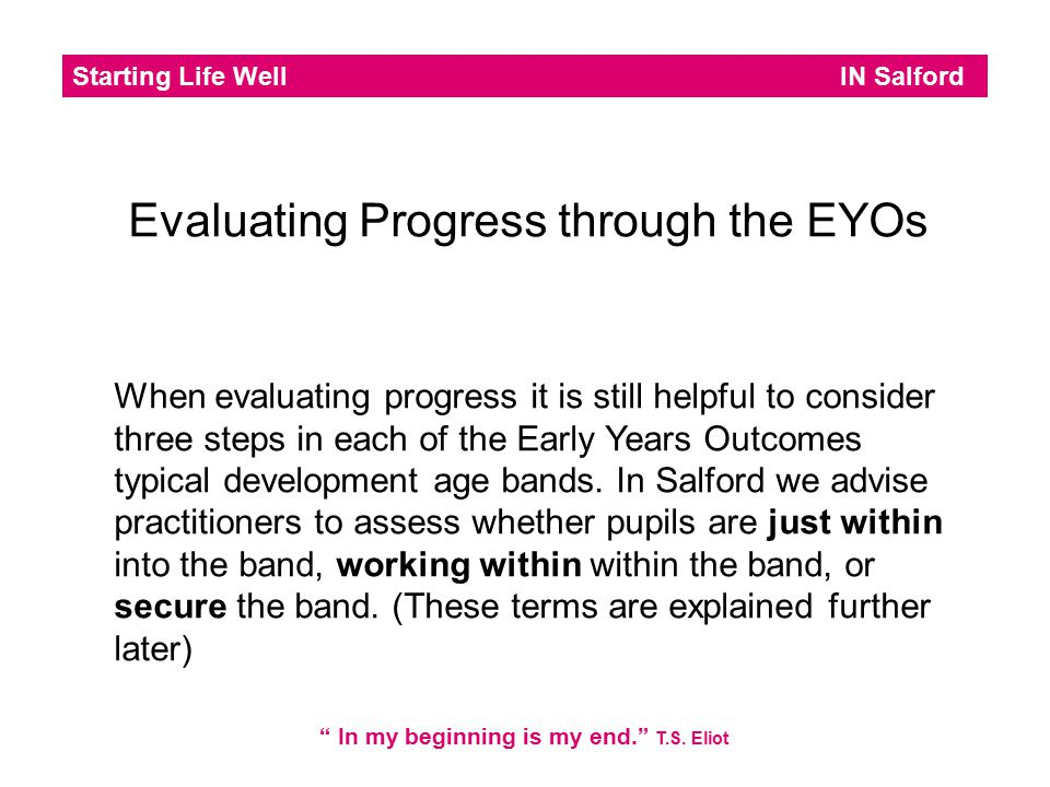 Starting Life Well IN Salford In my beginning is my end. T.S.