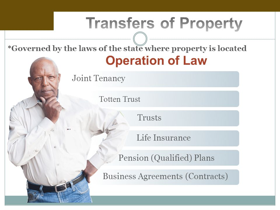 Operation of Law Joint Tenancy Totten Trust Trusts Life Insurance Pension (Qualified) Plans Business Agreements (Contracts) * Governed by the laws of the state where property is located