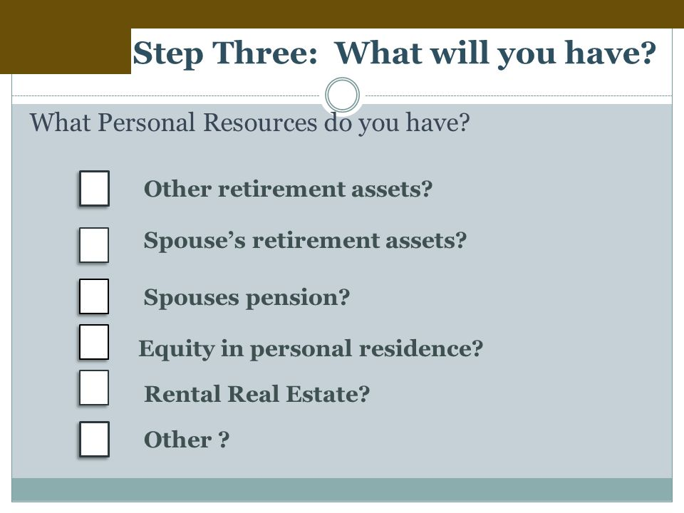 Step Three: What will you have. What Personal Resources do you have.