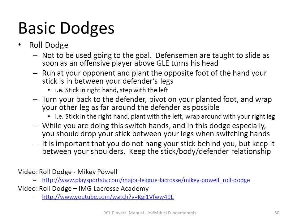 Basic Dodges Roll Dodge – Not to be used going to the goal.
