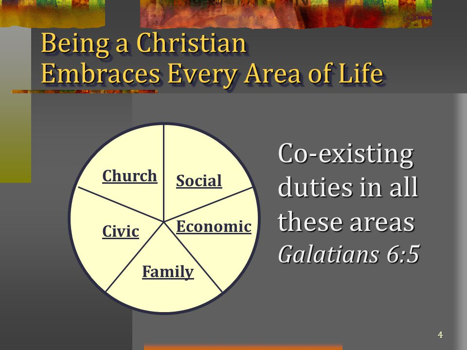4 Being a Christian Embraces Every Area of Life Social Economic Family Civic Church Co-existing duties in all these areas Galatians 6:5
