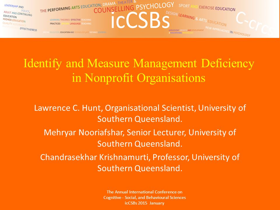 Identify and Measure Management Deficiency in Nonprofit Organisations Lawrence C.