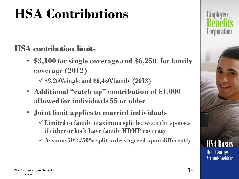 14 © 2012 Employee Benefits Corporation HSA Contributions HSA contribution limits $3,100 for single coverage and $6,250 for family coverage (2012) $3,250/single and $6,450/family (2013) Additional catch up contribution of $1,000 allowed for individuals 55 or older Joint limit applies to married individuals Limited to family maximum split between the spouses if either or both have family HDHP coverage Assume 50%/50% split unless agreed upon differently