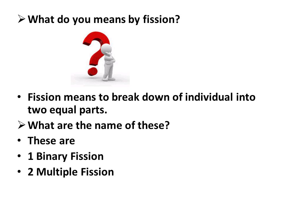  What do you means by fission? Fission means to break down of individual into two equal parts.  What are the name of these? These are 1 Binary Fissi