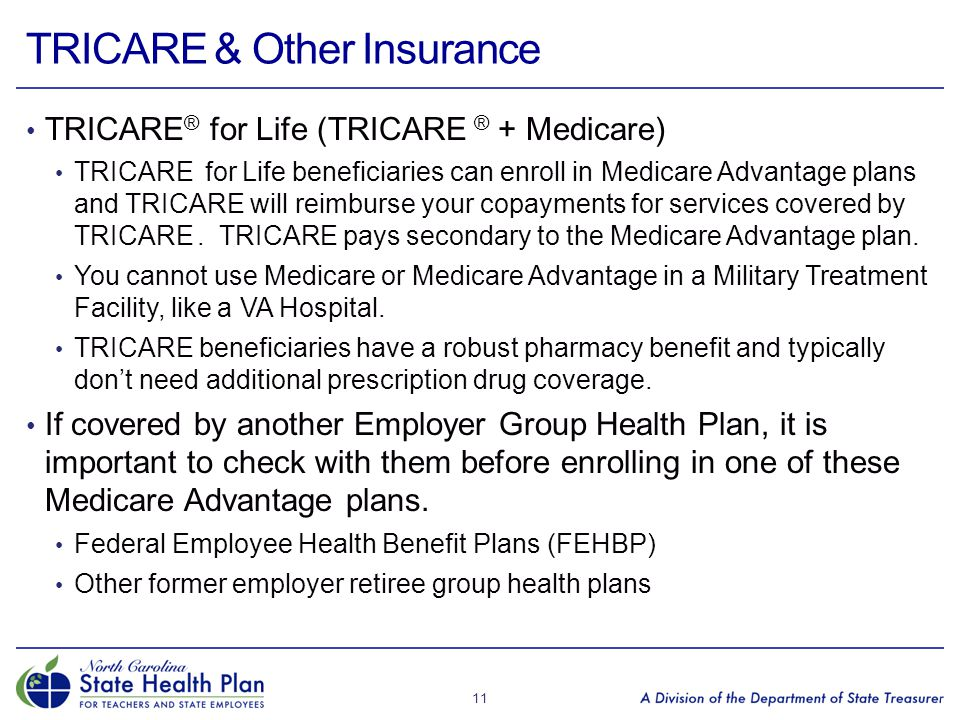 TRICARE & Other Insurance TRICARE ® for Life (TRICARE ® + Medicare) TRICARE for Life beneficiaries can enroll in Medicare Advantage plans and TRICARE will reimburse your copayments for services covered by TRICARE.