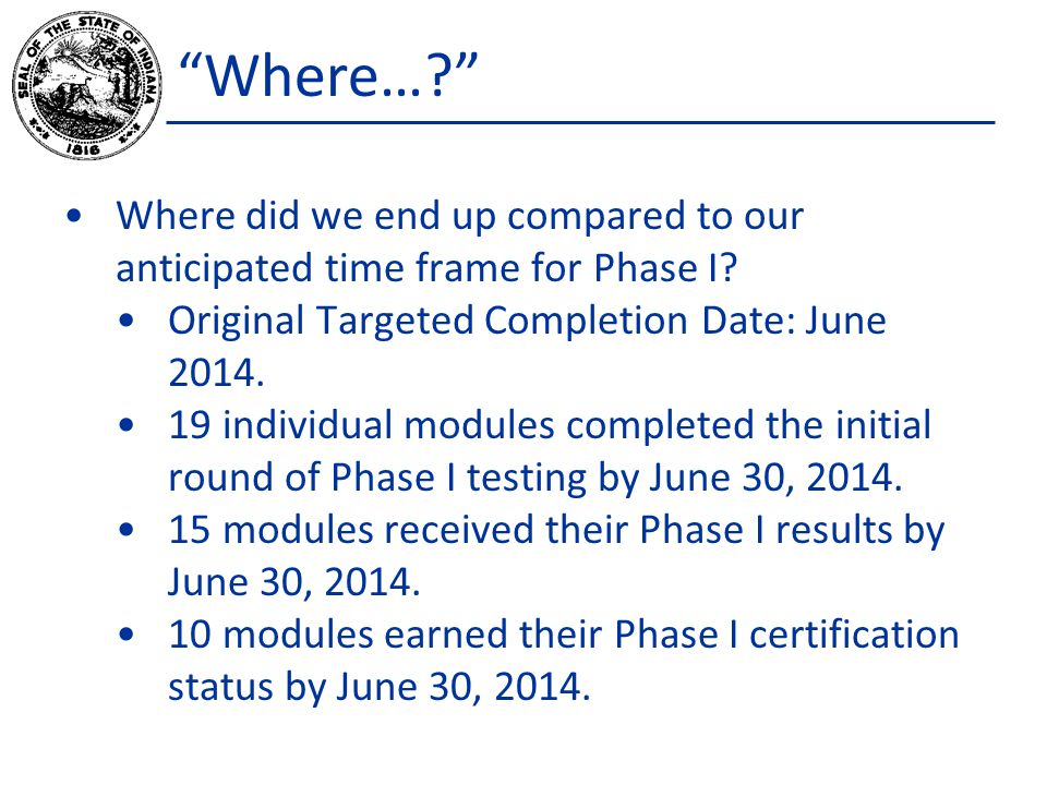 Where… Where did we end up compared to our anticipated time frame for Phase I.