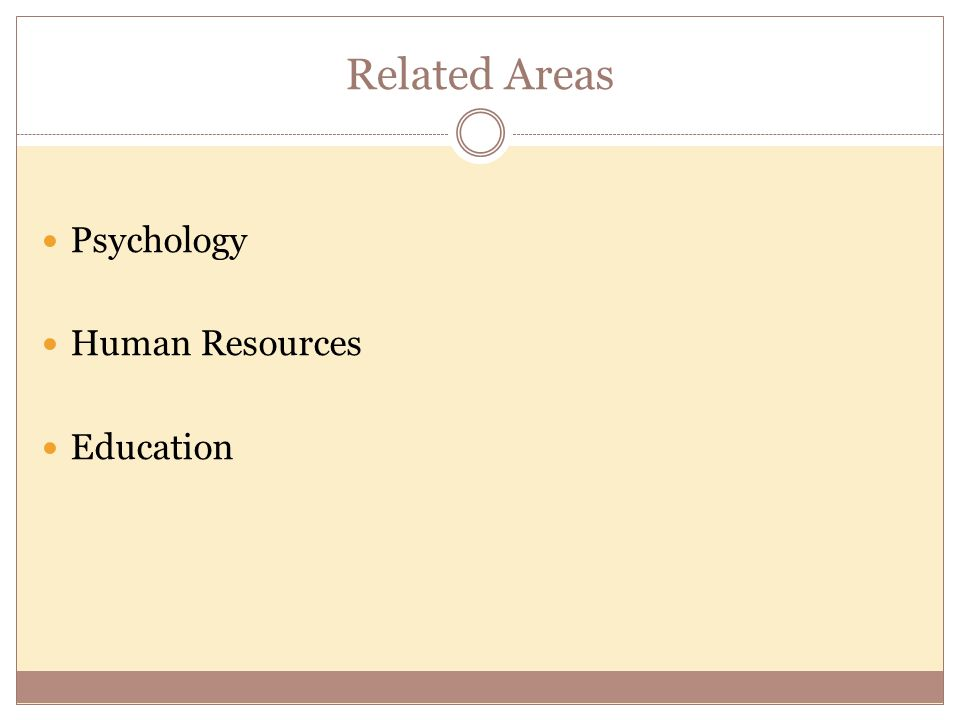 Related Areas Psychology Human Resources Education