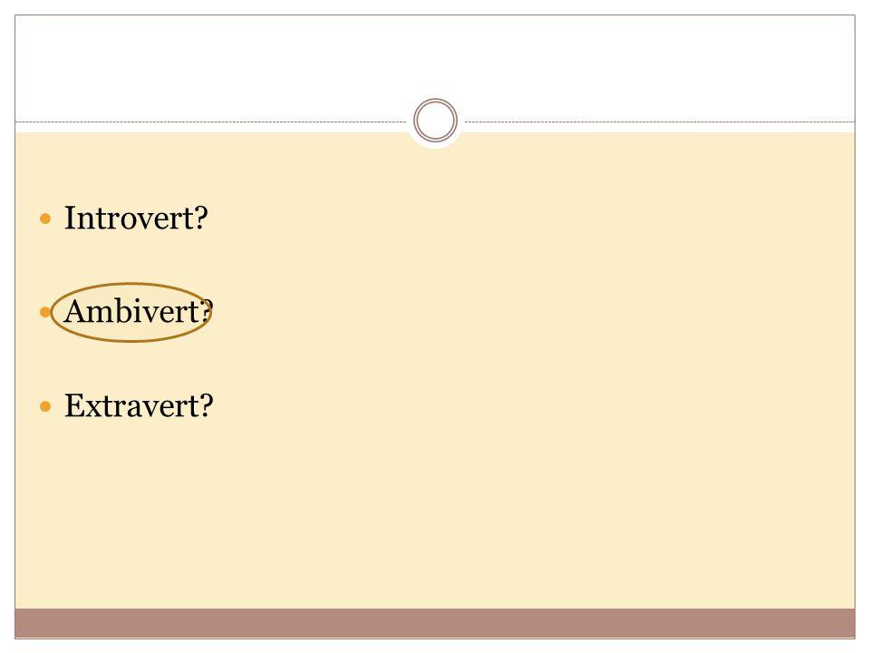 Introvert Ambivert Extravert
