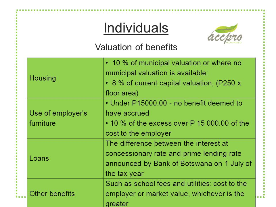 Individuals Housing 10 % of municipal valuation or where no municipal valuation is available: 8 % of current capital valuation, (P250 x floor area) Use of employer s furniture Under P15000.00 - no benefit deemed to have accrued 10 % of the excess over P 15 000.00 of the cost to the employer Loans The difference between the interest at concessionary rate and prime lending rate announced by Bank of Botswana on 1 July of the tax year Other benefits Such as school fees and utilities: cost to the employer or market value, whichever is the greater Valuation of benefits