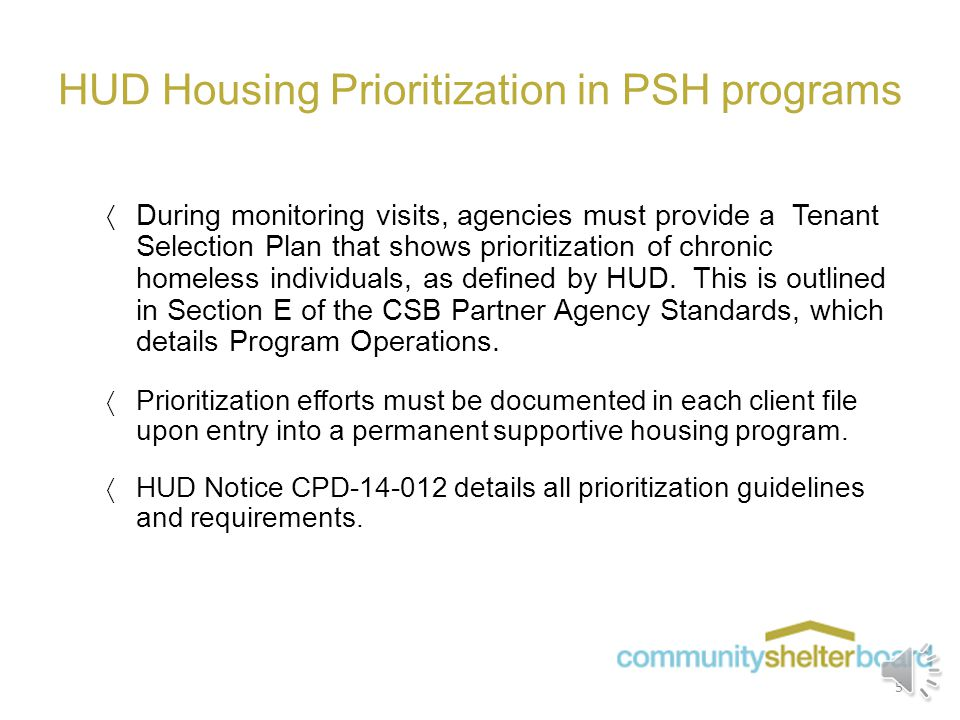 Local Homeless Definitions (continued)  For all non-Rebuilding Lives permanent supportive housing programs, Section E of the CSB Partner Agency Stand