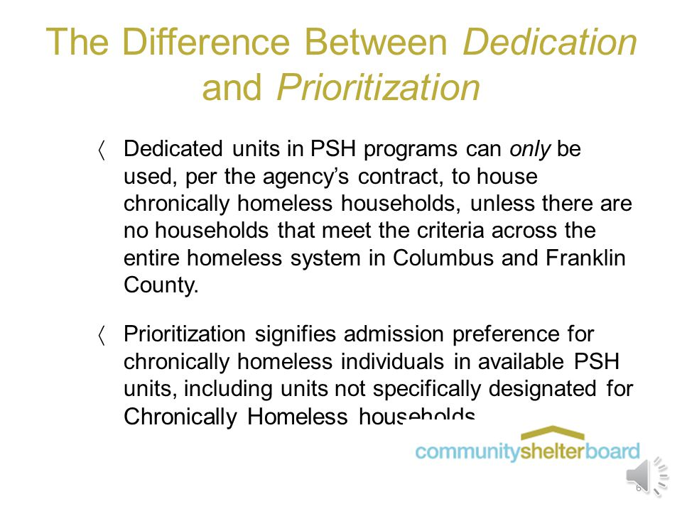 HUD Housing Prioritization in PSH programs  During monitoring visits, agencies must provide a Tenant Selection Plan that shows prioritization of chro
