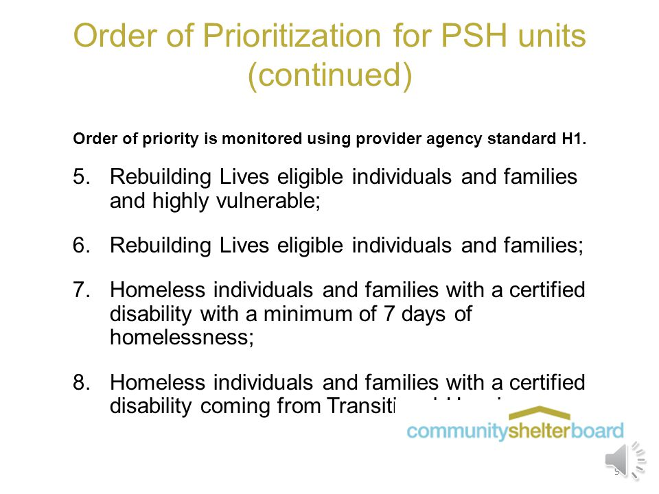 Order of Prioritization for PSH units Order of priority is monitored using provider agency standard H1. 1.Chronically Homeless individuals and familie