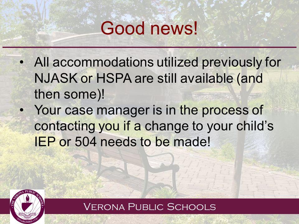 Verona Public Schools Good news.