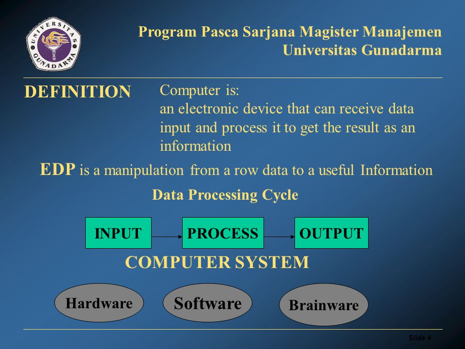 Slide 4 Program Pasca Sarjana Magister Manajemen Universitas Gunadarma DEFINITION Computer is: an electronic device that can receive data input and process it to get the result as an information EDP is a manipulation from a row data to a useful Information INPUTPROCESSOUTPUT Data Processing Cycle COMPUTER SYSTEM Hardware Software Brainware
