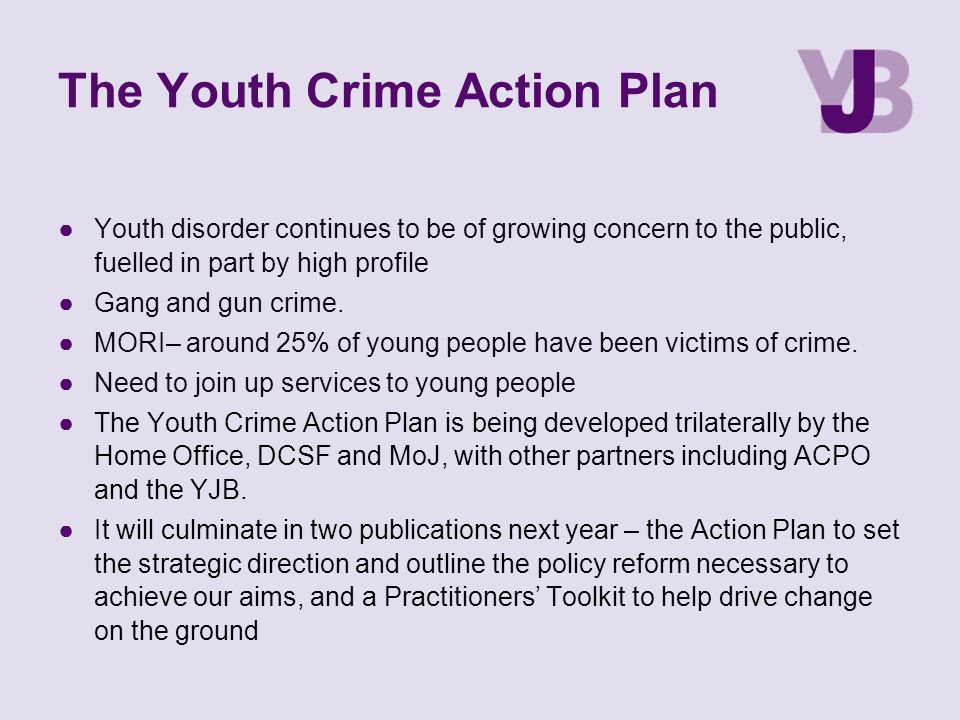 The Youth Crime Action Plan ●Youth disorder continues to be of growing concern to the public, fuelled in part by high profile ●Gang and gun crime. ●MO