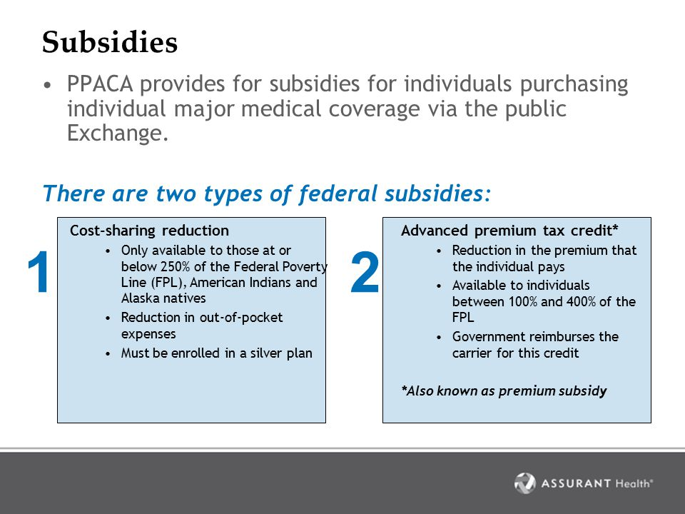 Premium subsidy People earning between 100% and 400% of the Federal Poverty Line may qualify for a premium subsidy.