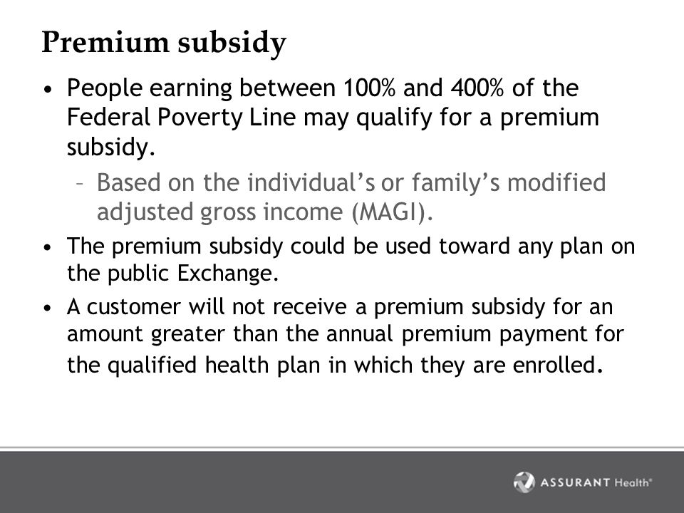 Premium subsidy qualification Step 1: Determine the individual's required share of premium –The applicable percentage of MAGI is used in calculating an individual's required share of premium.