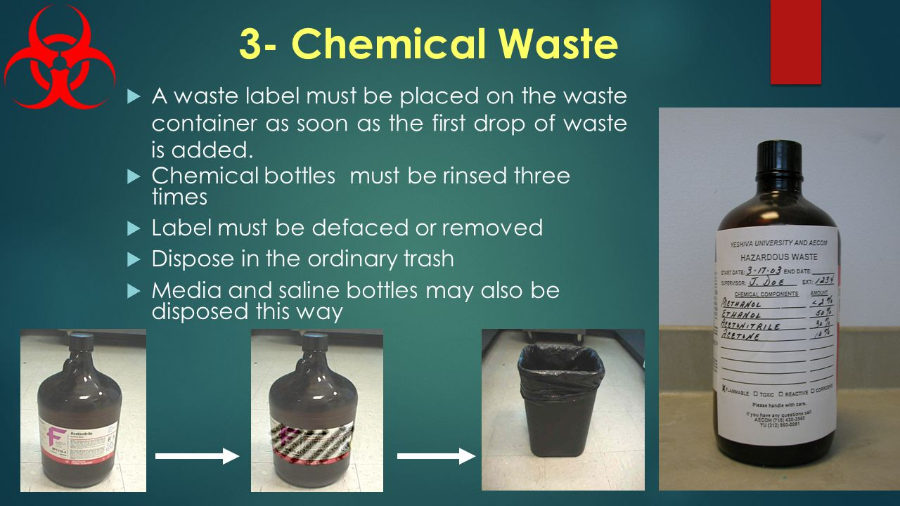 3- Chemical Waste  A waste label must be placed on the waste container as soon as the first drop of waste is added.
