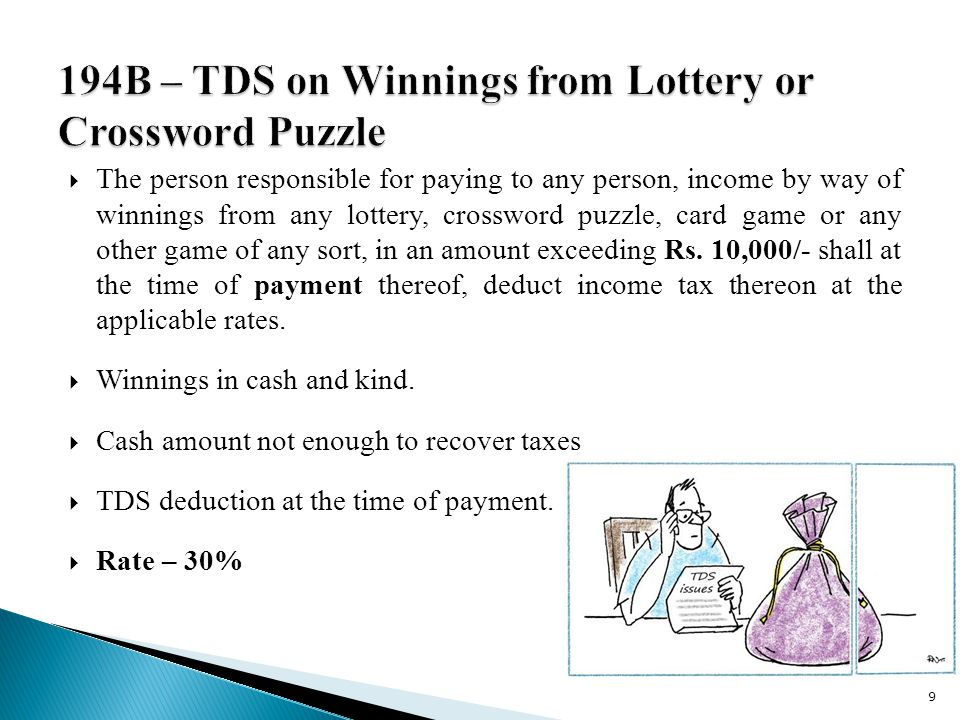  The person responsible for paying to any person, income by way of winnings from any lottery, crossword puzzle, card game or any other game of any sort, in an amount exceeding Rs.