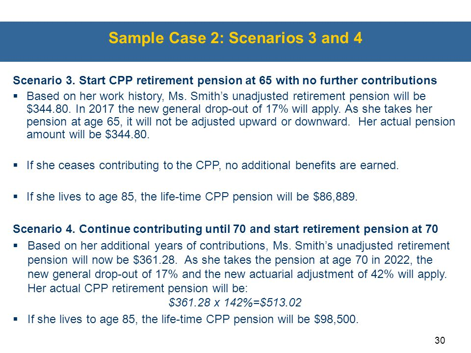 30 Sample Case 2: Scenarios 3 and 4 Scenario 3. Start CPP retirement pension at 65 with no further contributions  Based on her work history, Ms. Smit
