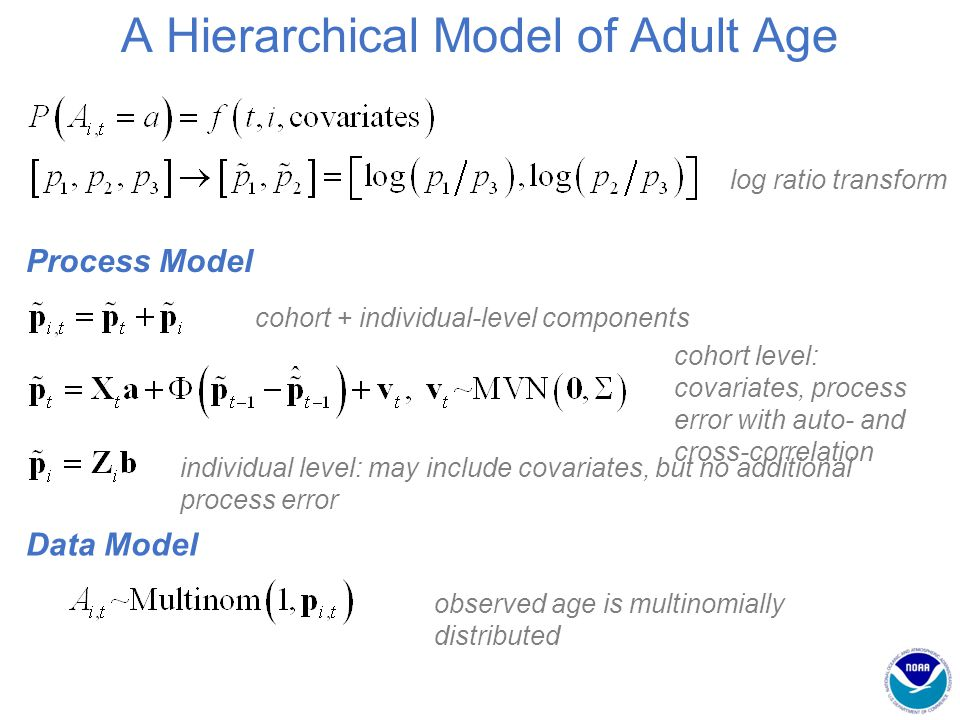 A Hierarchical Model of Adult Age log ratio transform Data Model observed age is multinomially distributed Process Model cohort + individual-level components cohort level: covariates, process error with auto- and cross-correlation individual level: may include covariates, but no additional process error