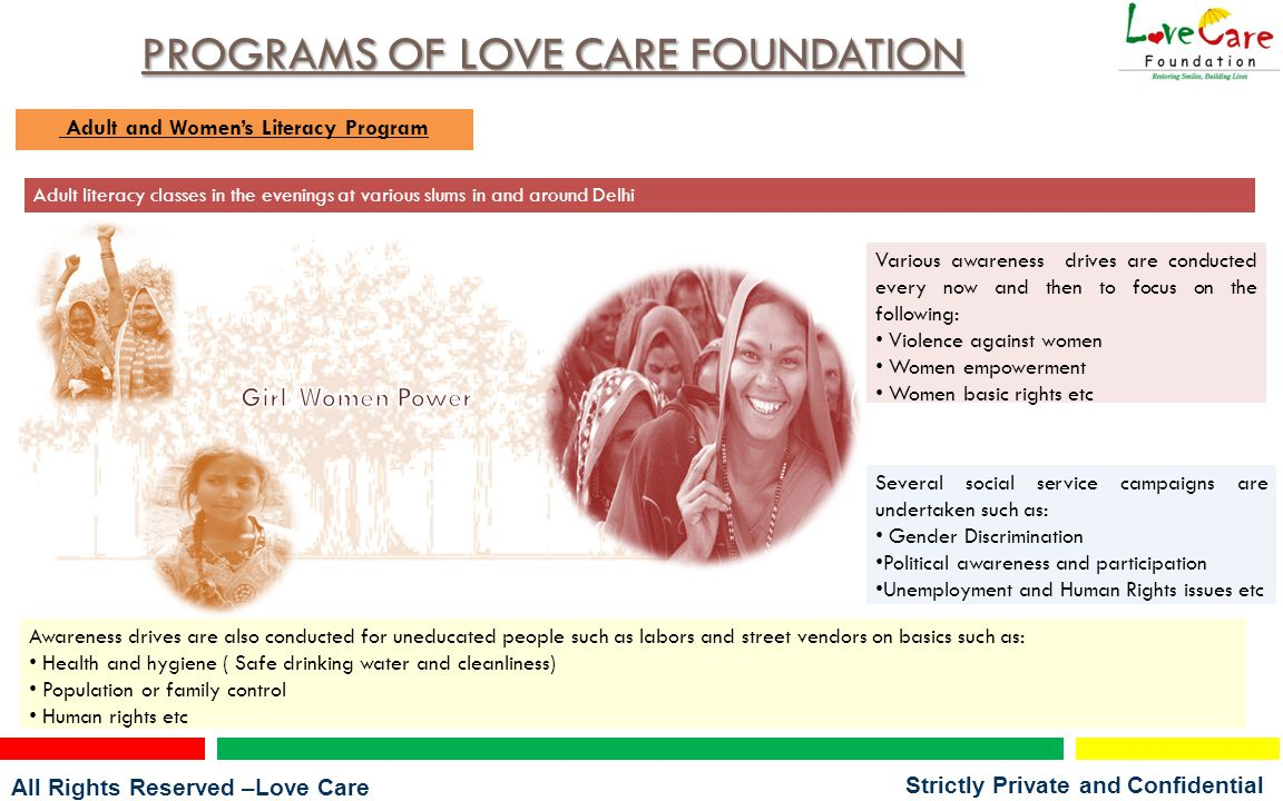 All Rights Reserved –Love Care Foundation Strictly Private and Confidential PROGRAMS OF LOVE CARE FOUNDATION Medical Camps Minor Treatment Camps Nutritional Awareness Camps Anti Smoking Campaigns Health Awareness Camps