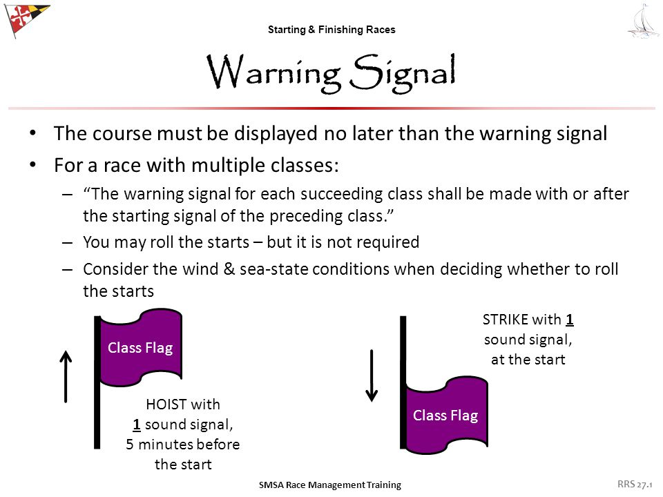 "Starting & Finishing Races Warning Signal The course must be displayed no later than the warning signal For a race with multiple classes: – ""The warni"